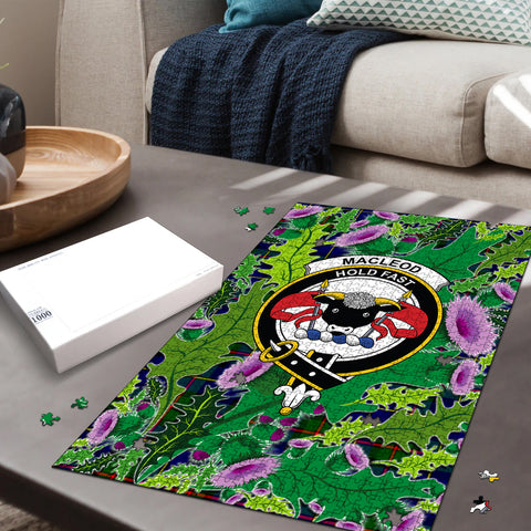 MacLeod of Harris Modern Clan Crest Tartan Thistle Pattern Scotland Jigsaw Puzzle