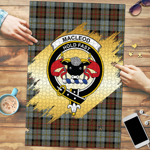 MacLeod of Harris Weathered Clan Crest Tartan Jigsaw Puzzle Gold