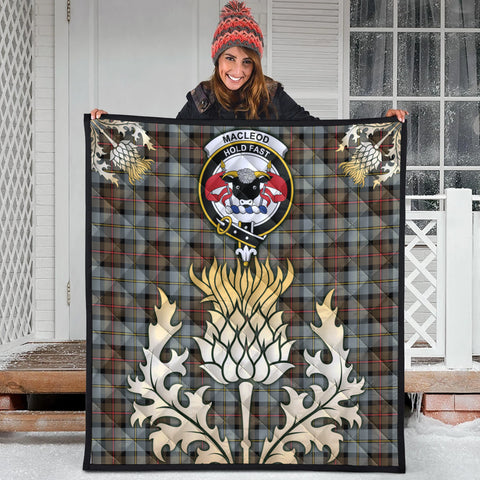 MacLeod of Harris Weathered Clan Crest Tartan Scotland Thistle Gold Royal Premium Quilt