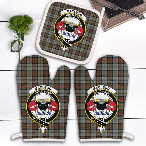 Image of MacLeod of Harris Weathered Clan Crest Tartan Scotland Oven Mitt And Pot-Holder (Set Of Two)