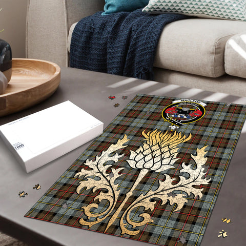 Image of MacLeod of Harris Weathered Clan Crest Tartan Thistle Gold Jigsaw Puzzle