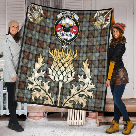 Image of MacLeod of Harris Weathered Clan Crest Tartan Scotland Thistle Gold Royal Premium Quilt K9