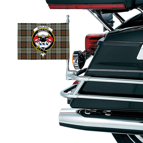 Image of MacLeod of Harris Weathered Clan Crest Tartan Motorcycle Flag