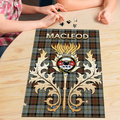 MacLeod of Harris Weathered Clan Name Crest Tartan Thistle Scotland Jigsaw Puzzle