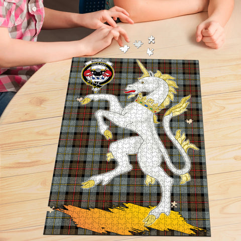 Image of MacLeod of Harris Weathered Clan Crest Tartan Unicorn Scotland Jigsaw Puzzle