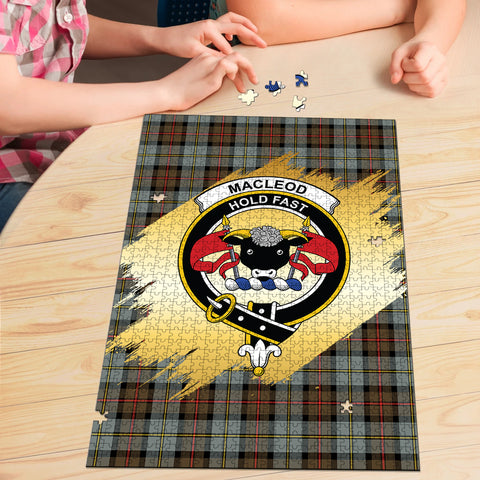 Image of MacLeod of Harris Weathered Clan Crest Tartan Jigsaw Puzzle Gold