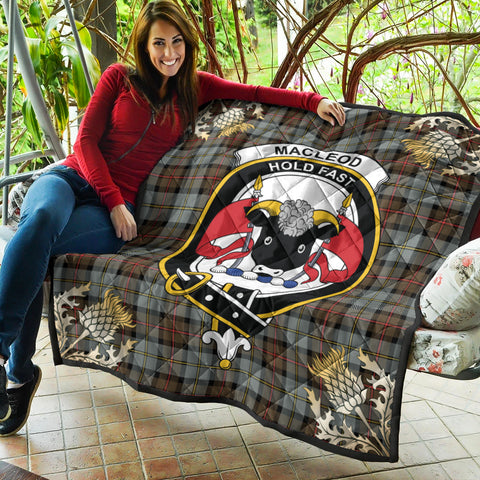 Image of MacLeod of Harris Weathered Clan Crest Tartan Scotland Thistle Gold Pattern Premium Quilt K9