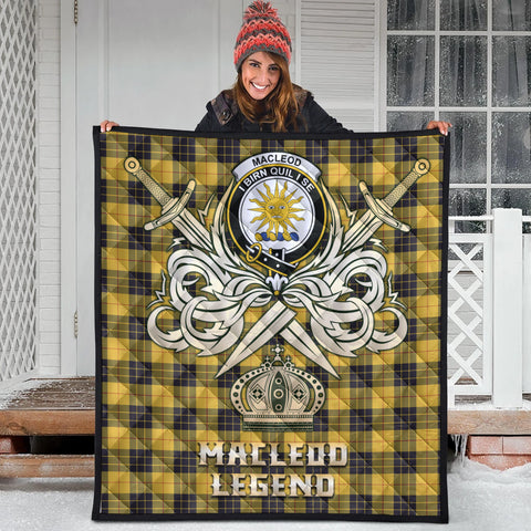 Image of MacLeod of Lewis Ancient Clan Crest Tartan Scotland Clan Legend Gold Royal Premium Quilt