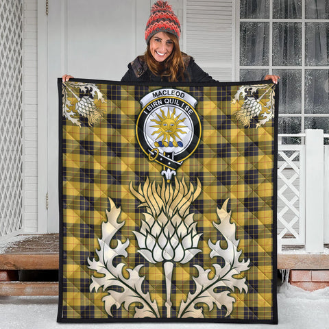 MacLeod of Lewis Ancient Clan Crest Tartan Scotland Thistle Gold Royal Premium Quilt