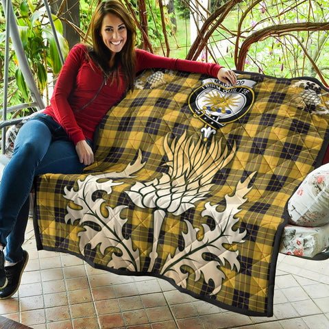 MacLeod of Lewis Ancient Clan Crest Tartan Scotland Thistle Gold Royal Premium Quilt K9
