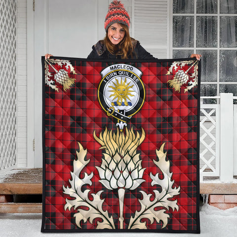 MacLeod of Raasay Clan Crest Tartan Scotland Thistle Gold Royal Premium Quilt