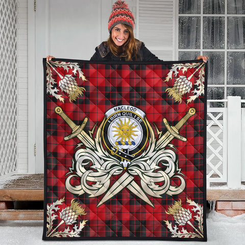 Image of MacLeod of Raasay Clan Crest Tartan Scotland Thistle Symbol Gold Royal Premium Quilt