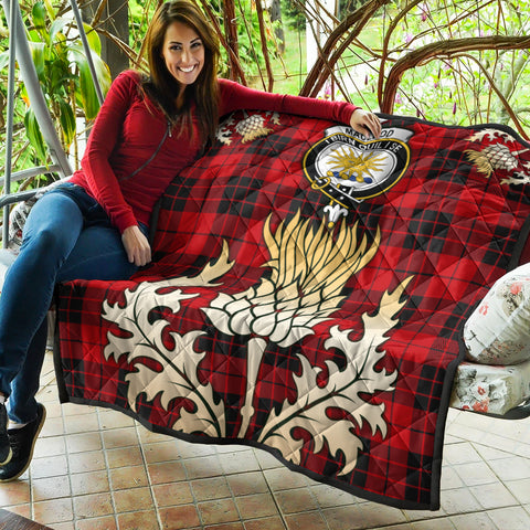 Image of MacLeod of Raasay Clan Crest Tartan Scotland Thistle Gold Royal Premium Quilt K9