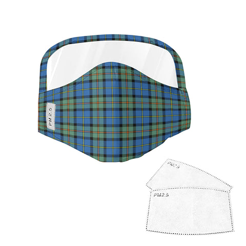 MacLeod of Harris Ancient Tartan Face Mask With Eyes Shield - Blue & Green  Plaid Mask TH8