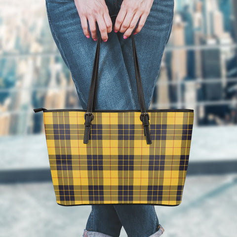 MacLeod of Lewis Ancient Tartan Leather Tote Bag (Small) | Over 500 Tartans | Special Custom Design