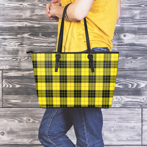MacLeod of Lewis Modern Tartan Leather Tote Bag (Large) | Over 500 Tartans | Special Custom Design