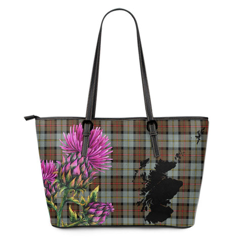 MacLeod of Harris Weathered Tartan Leather Tote Bag Thistle Scotland Maps A91
