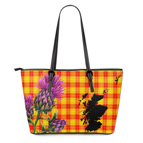 MacLeod of Raasay Tartan Leather Tote Bag Thistle Scotland Maps A91