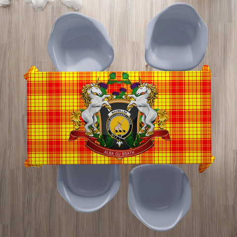 Image of MacMillan Clan Crest Tartan Tablecloth Unicorn Thistle | Home Decor