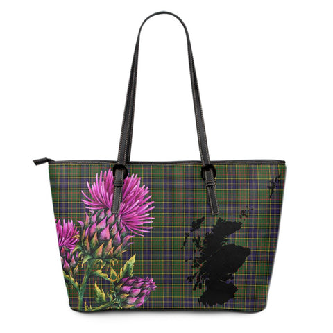 MacMillan Hunting Modern Tartan Leather Tote Bag Thistle Scotland Maps A91