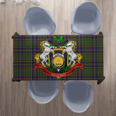 MacMillan Hunting Modern Crest Tartan Tablecloth Unicorn Thistle | Home Decor
