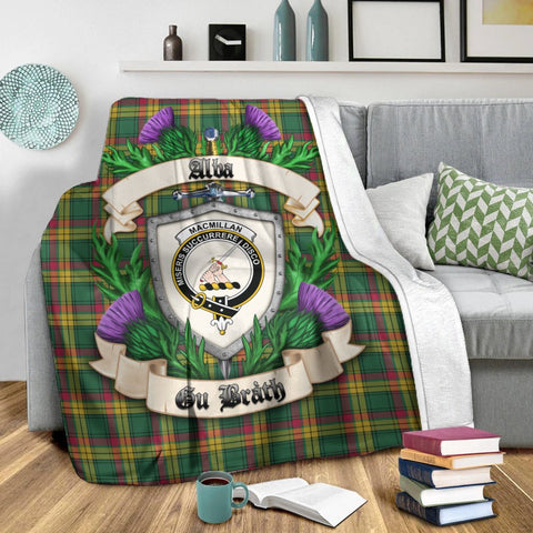 Image of MacMillan Old Ancient Crest Tartan Blanket Thistle  | Tartan Home Decor | Scottish Clan
