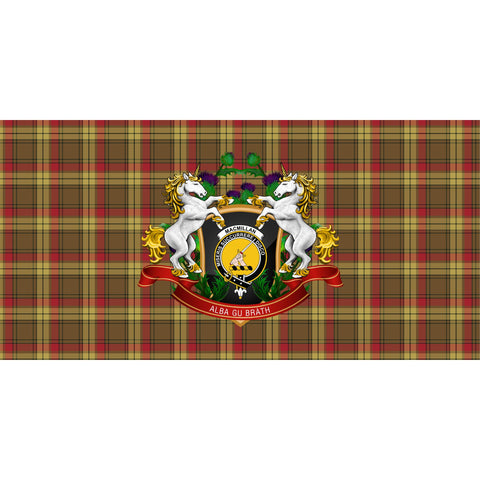 Image of MacMillan Old Weathered Crest Tartan Tablecloth Unicorn Thistle A30