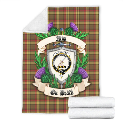 Image of MacMillan Old Weathered Crest Tartan Blanket Thistle  | Tartan Home Decor | Scottish Clan
