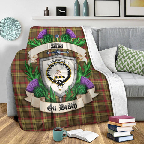 MacMillan Old Weathered Crest Tartan Blanket Thistle  | Tartan Home Decor | Scottish Clan