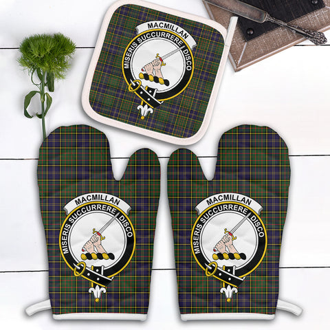 MacMillan Hunting Modern Clan Crest Tartan Scotland Oven Mitt And Pot-Holder (Set Of Two)