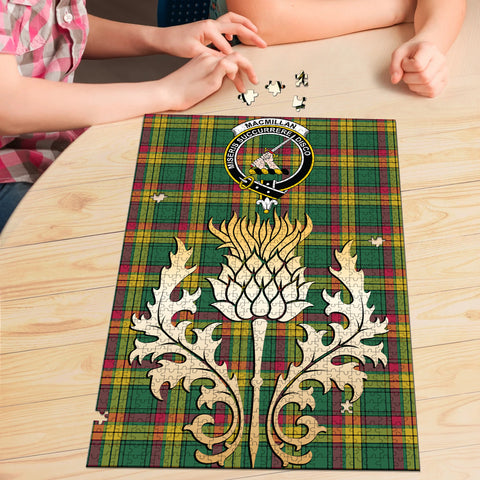 MacMillan Old Ancient Clan Crest Tartan Thistle Gold Jigsaw Puzzle