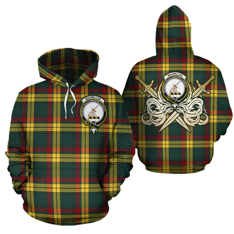 MacMillan Old Modern Clan Crest Tartan Scottish Gold Thistle Hoodie