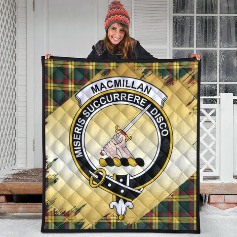 Image of MacMillan Old Modern Clan Crest Tartan Scotland Gold Royal Premium Quilt