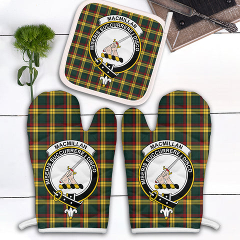 MacMillan Old Modern Clan Crest Tartan Scotland Oven Mitt And Pot-Holder (Set Of Two)