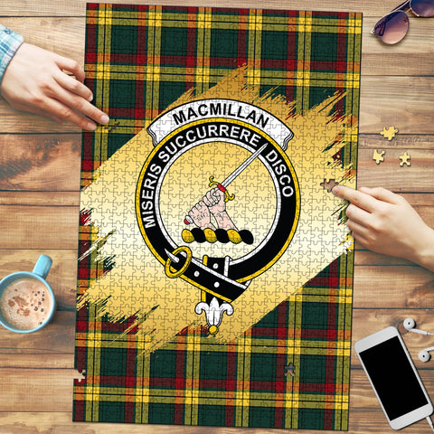 Image of MacMillan Old Modern Clan Crest Tartan Jigsaw Puzzle Gold