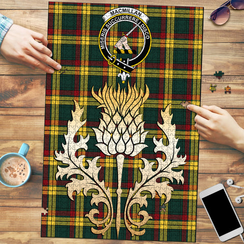 Image of MacMillan Old Modern Clan Crest Tartan Thistle Gold Jigsaw Puzzle
