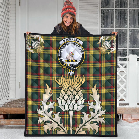 MacMillan Old Modern Clan Crest Tartan Scotland Thistle Gold Royal Premium Quilt