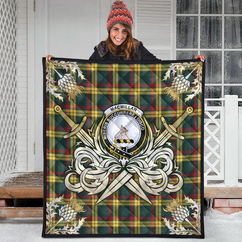 Image of MacMillan Old Modern Clan Crest Tartan Scotland Thistle Symbol Gold Royal Premium Quilt