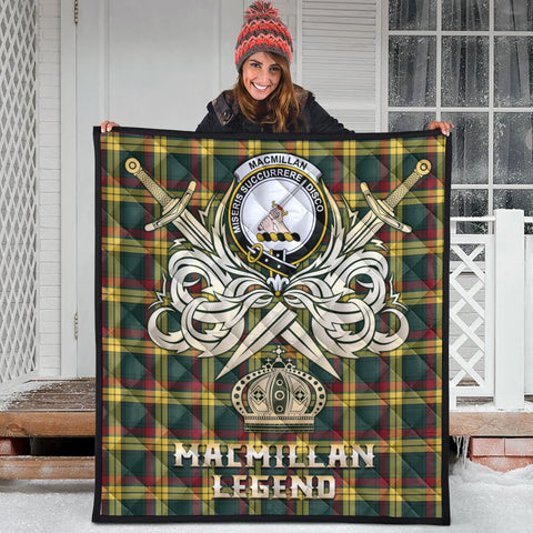 MacMillan Old Modern Clan Crest Tartan Scotland Clan Legend Gold Royal Premium Quilt