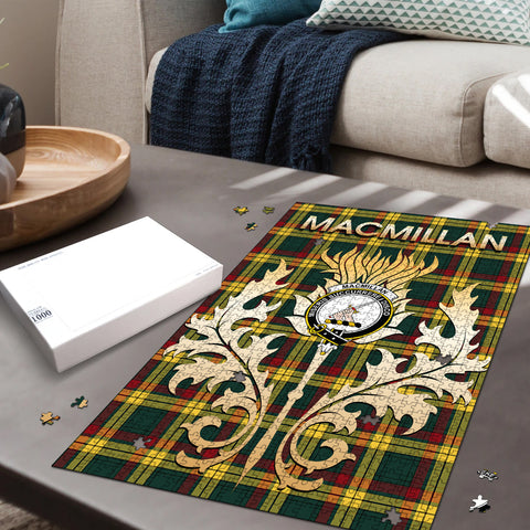 Image of MacMillan Old Modern Clan Name Crest Tartan Thistle Scotland Jigsaw Puzzle