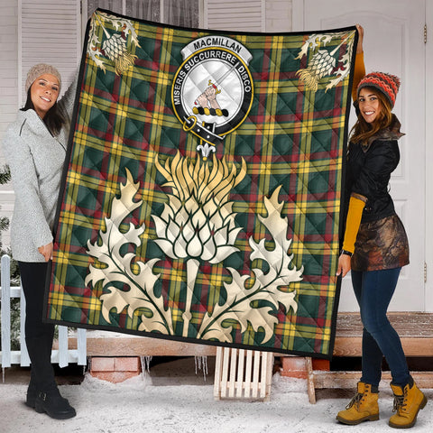 Image of MacMillan Old Modern Clan Crest Tartan Scotland Thistle Gold Royal Premium Quilt K9