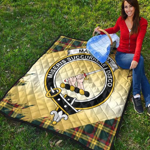 Image of MacMillan Old Modern Clan Crest Tartan Scotland Gold Royal Premium Quilt K9