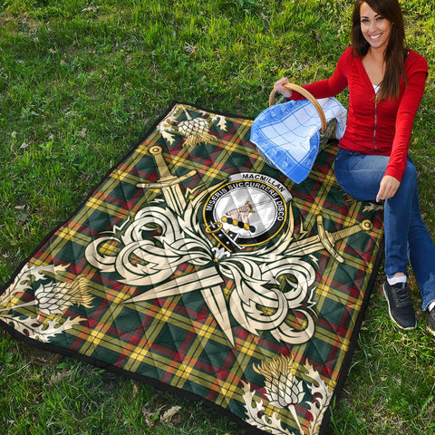 Image of MacMillan Old Modern Clan Crest Tartan Scotland Thistle Symbol Gold Royal Premium Quilt K9