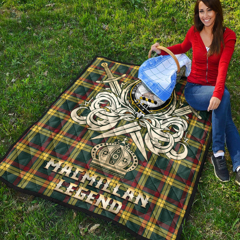 MacMillan Old Modern Clan Crest Tartan Scotland Clan Legend Gold Royal Premium Quilt K9
