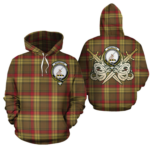 MacMillan Old Weathered Clan Crest Tartan Scottish Gold Thistle Hoodie