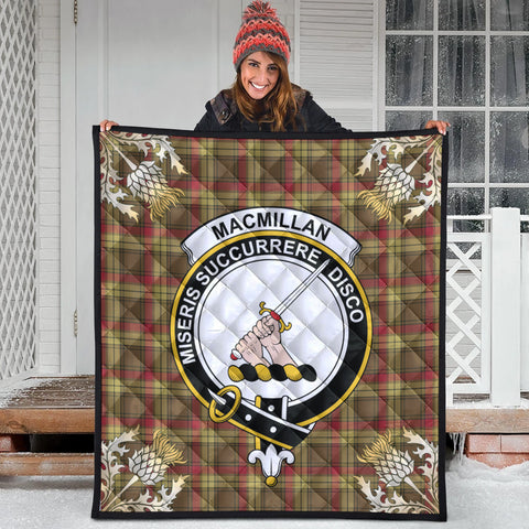 Image of MacMillan Old Weathered Clan Crest Tartan Scotland Thistle Gold Pattern Premium Quilt