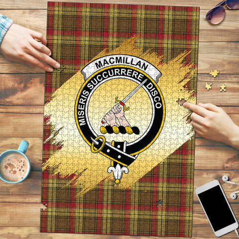Image of MacMillan Old Weathered Clan Crest Tartan Jigsaw Puzzle Gold