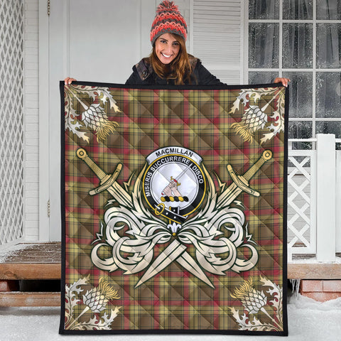 Image of MacMillan Old Weathered Clan Crest Tartan Scotland Thistle Symbol Gold Royal Premium Quilt
