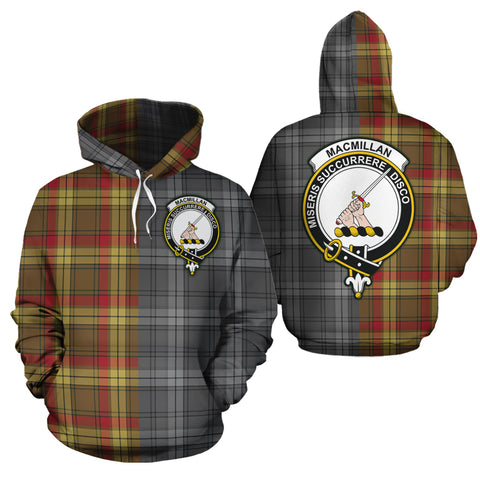 MacMillan Old Weathered Clan Half Of Me New Version Crest Tartan Hoodie