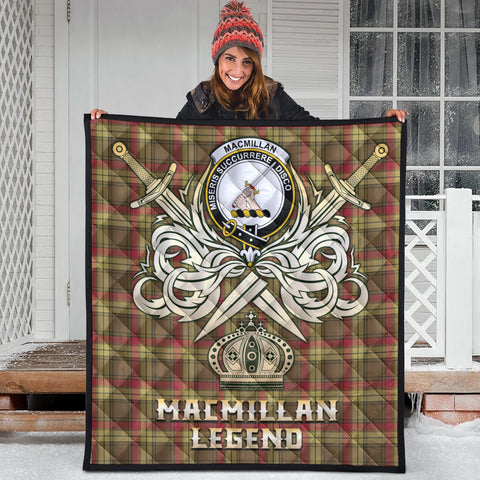 Image of MacMillan Old Weathered Clan Crest Tartan Scotland Clan Legend Gold Royal Premium Quilt